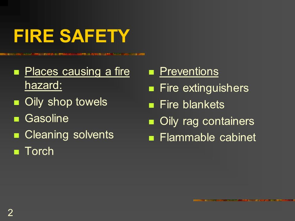 1 SHOP SAFETY Keeping you and those around you safe