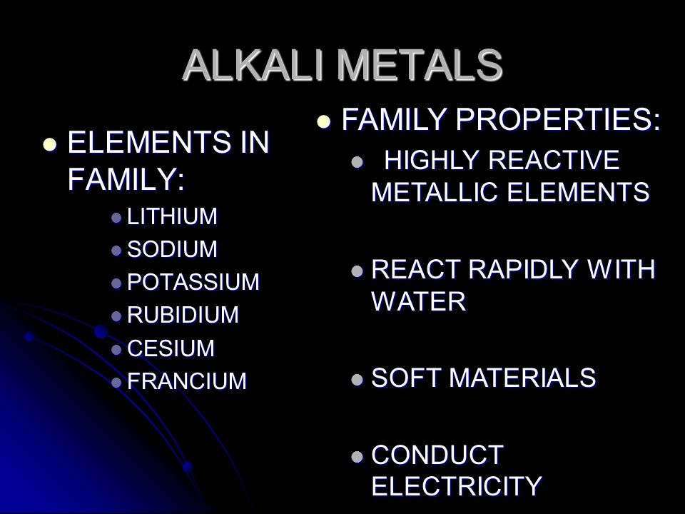 ELEMENTS IN FAMILY: ELEMENTS IN FAMILY: LITHIUM LITHIUM SODIUM SODIUM POTASSIUM POTASSIUM RUBIDIUM RUBIDIUM CESIUM CESIUM FRANCIUM FRANCIUM FAMILY PRO