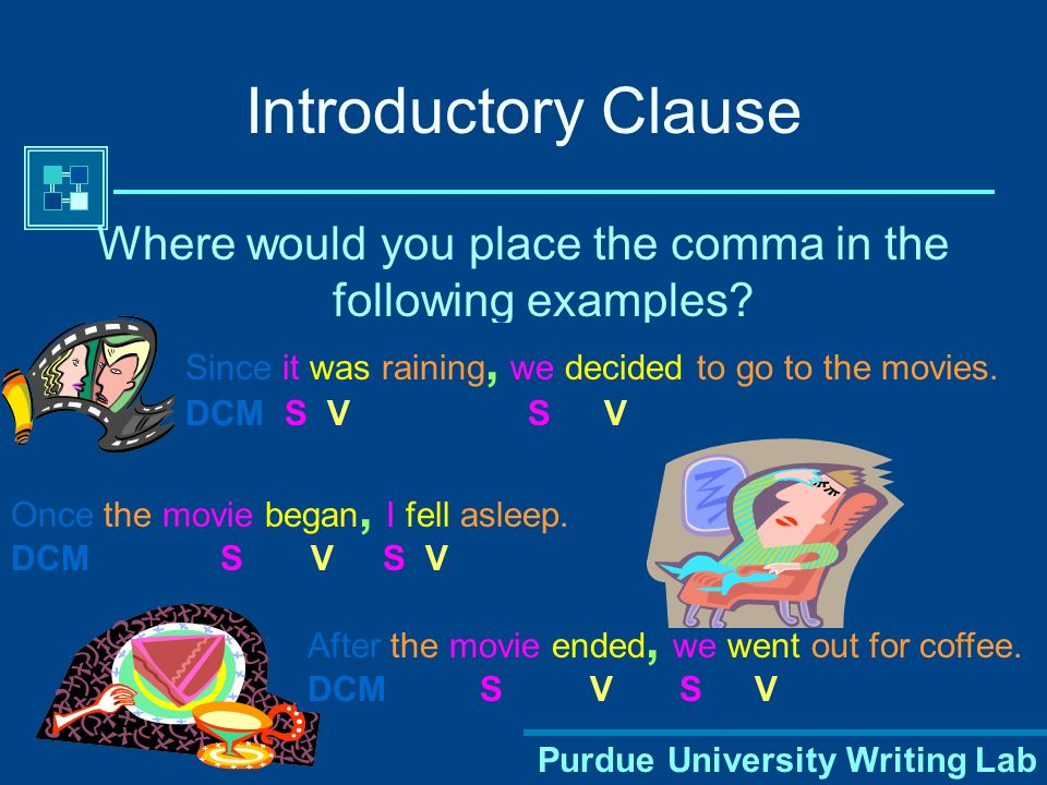 Purdue University Writing Lab Introductory Clause Where would you place the comma in the following examples.
