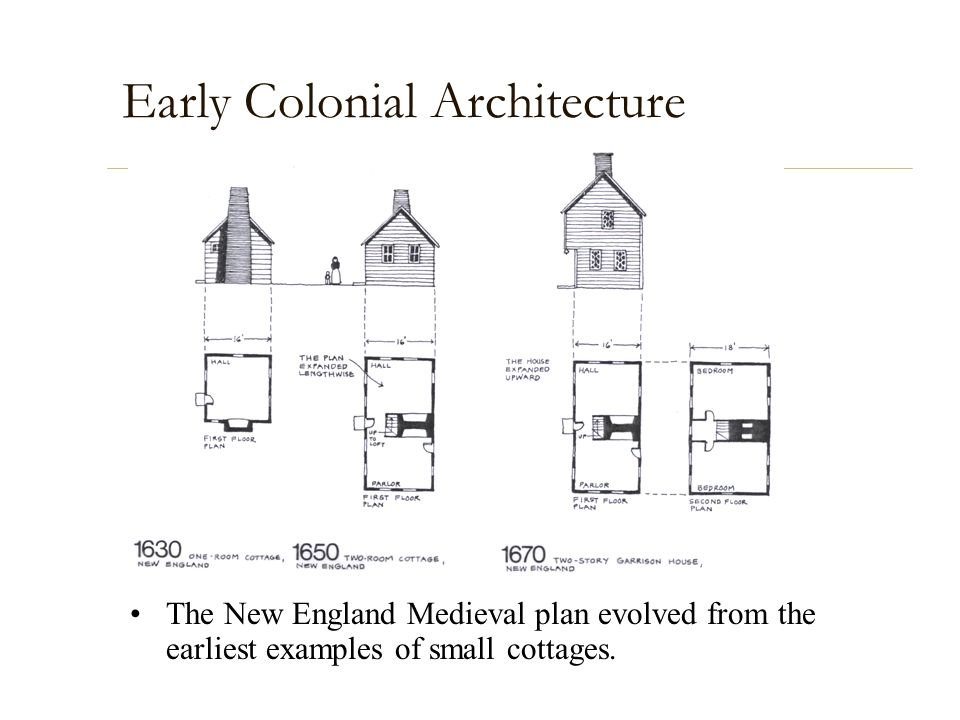 Early Colonial Architecture The New England Medieval plan evolved from the earliest examples of small cottages.