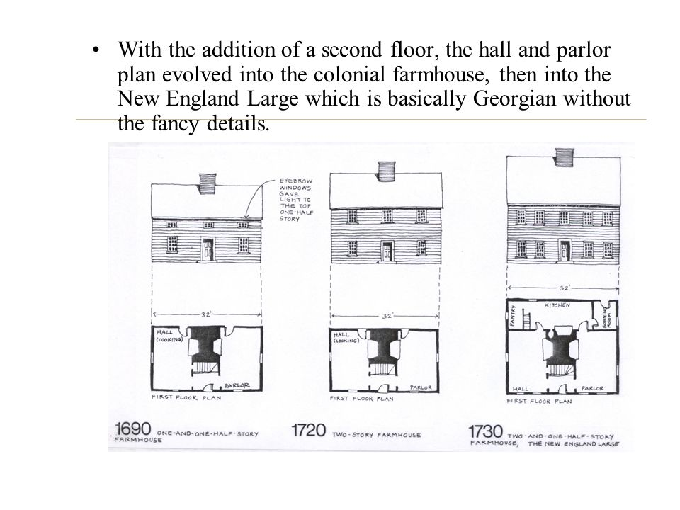 With the addition of a second floor, the hall and parlor plan evolved into the colonial farmhouse, then into the New England Large which is basically