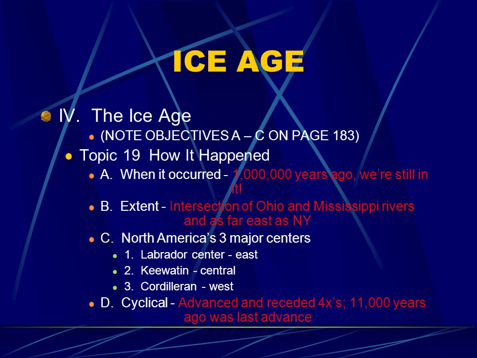 ICE AGE IV.The Ice Age (NOTE OBJECTIVES A – C ON PAGE 183) Topic 19 How It Happened A.