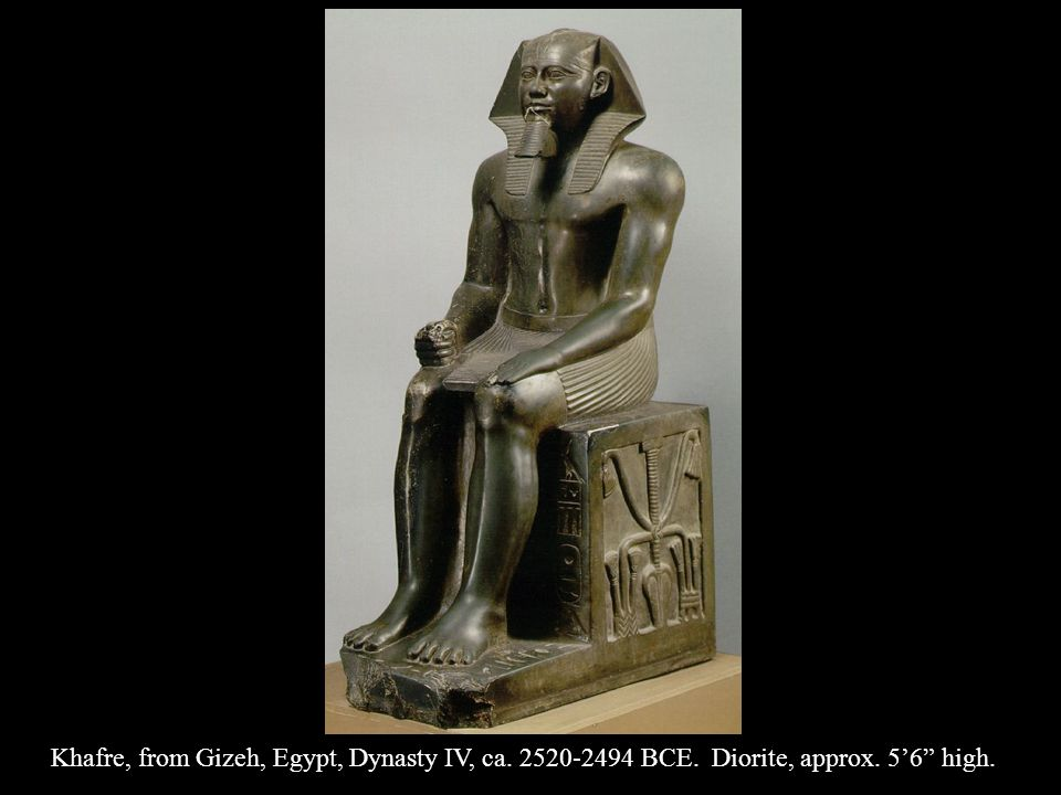 Khafre, from Gizeh, Egypt, Dynasty IV, ca. 2520-2494 BCE. Diorite, approx. 56 high.