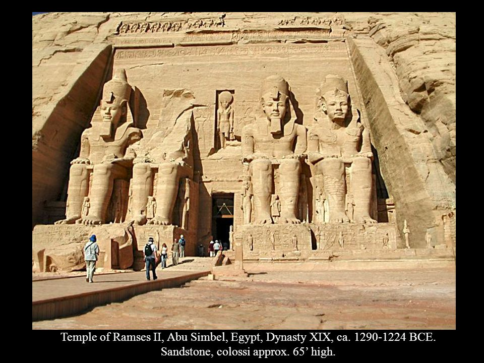 Temple of Ramses II, Abu Simbel, Egypt, Dynasty XIX, ca. 1290-1224 BCE. Sandstone, colossi approx. 65 high.
