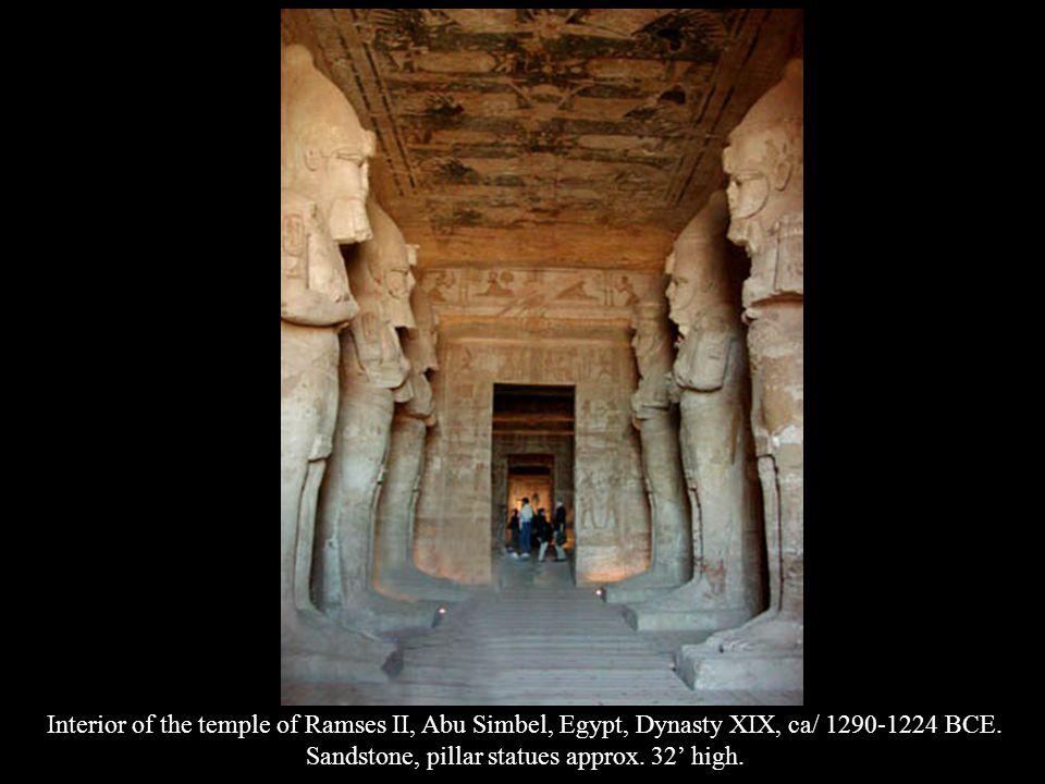 Interior of the temple of Ramses II, Abu Simbel, Egypt, Dynasty XIX, ca/ 1290-1224 BCE. Sandstone, pillar statues approx. 32 high.