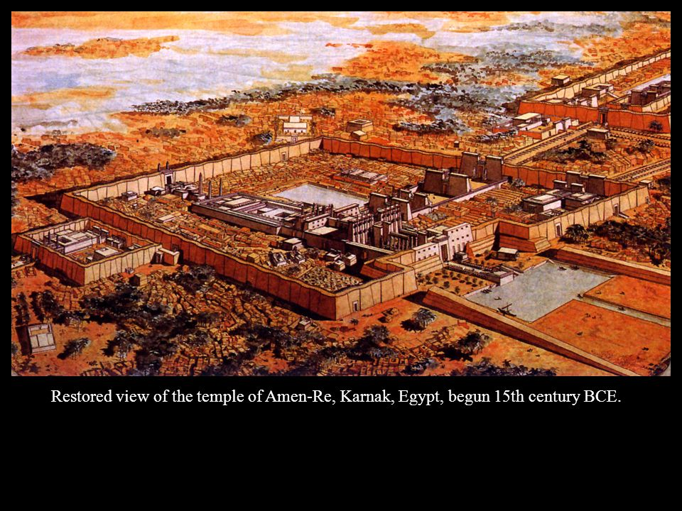 Restored view of the temple of Amen-Re, Karnak, Egypt, begun 15th century BCE.
