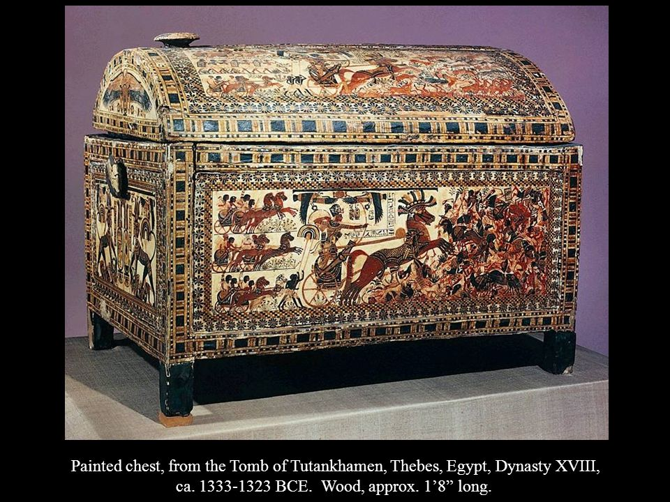 Painted chest, from the Tomb of Tutankhamen, Thebes, Egypt, Dynasty XVIII, ca. 1333-1323 BCE. Wood, approx. 18 long.