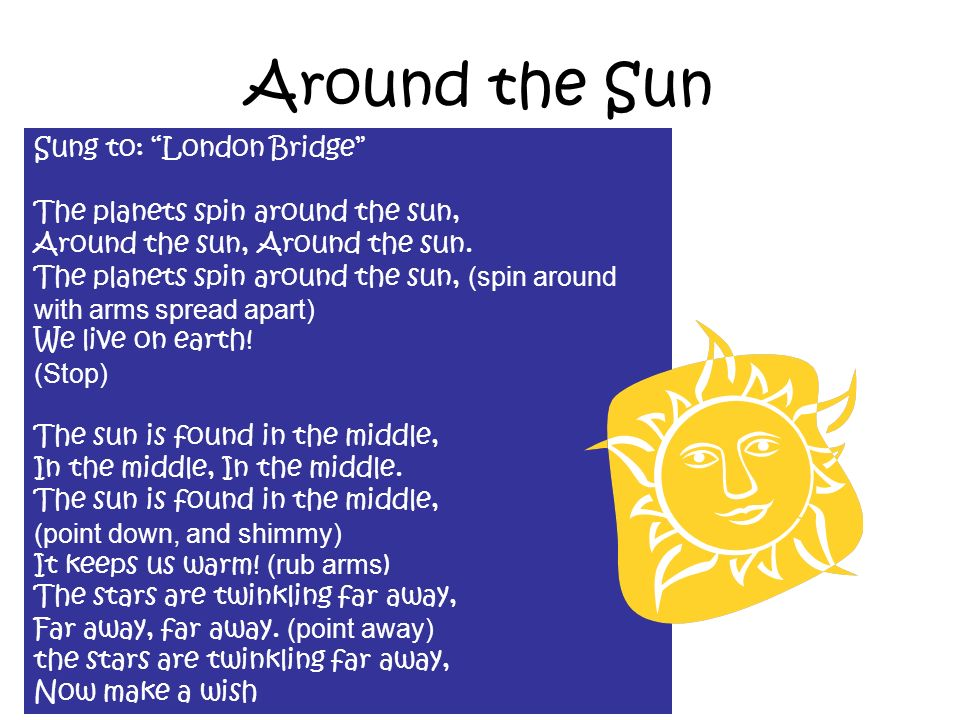 Sung to: London Bridge The planets spin around the sun, Around the sun, Around the sun. The planets spin around the sun, (spin around with arms spread