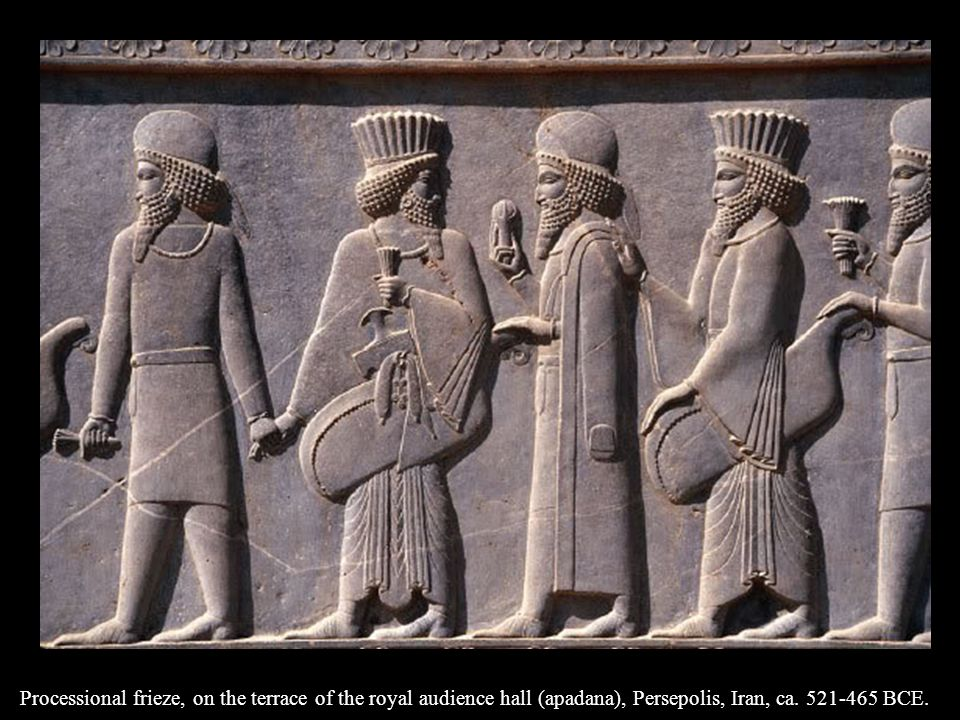 Processional frieze, on the terrace of the royal audience hall (apadana), Persepolis, Iran, ca. 521-465 BCE.