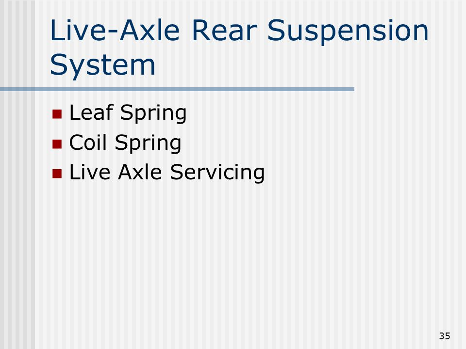 35 Live-Axle Rear Suspension System Leaf Spring Coil Spring Live Axle Servicing