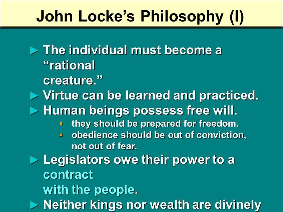 John Locke (1632-1704) Letter on Toleration, 1689 Letter on Toleration, 1689 Two Treatises of Government, 1690 Two Treatises of Government, 1690 Some Thoughts Concerning Education, 1693 Some Thoughts Concerning Education, 1693 The Reasonableness of Christianity, 1695 The Reasonableness of Christianity, 1695