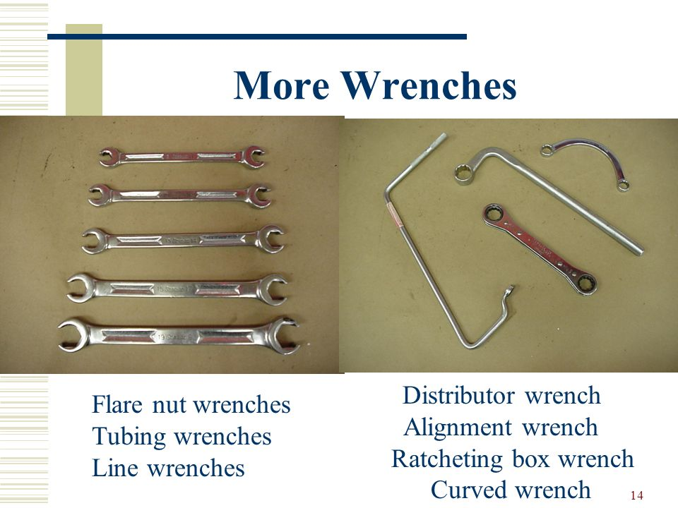 13 Other Types of Wrenches Adjustable end wrench (Crescent wrench) Open end-box