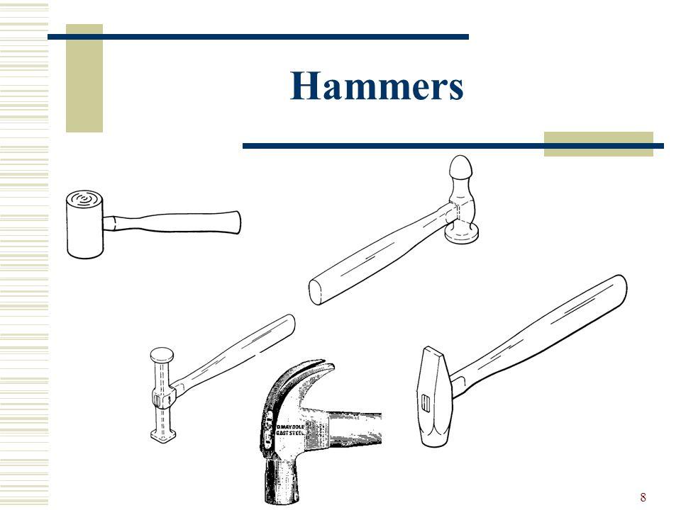 7 Hammers 1.Ball peen hammer 2. Engineers hammer 3. Soft faced 4. Rubber mallet 5. Dead blow 6. Brass 7. Leather