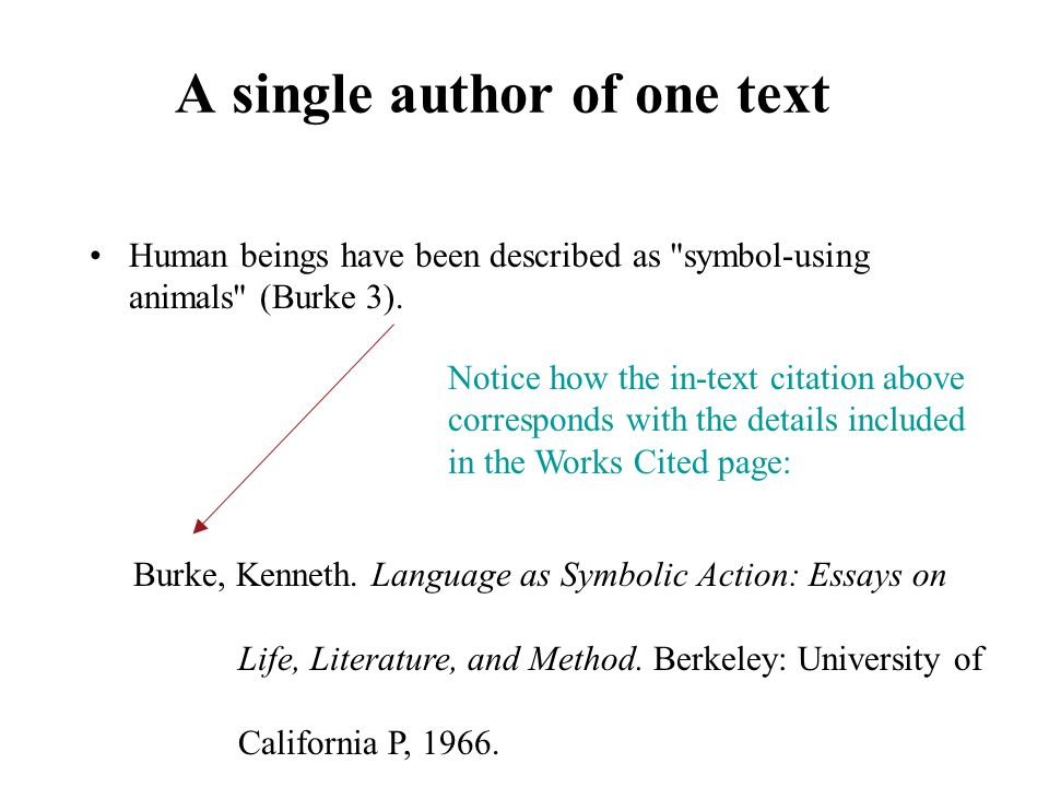 A single author of one text Human beings have been described as symbol-using animals (Burke 3).