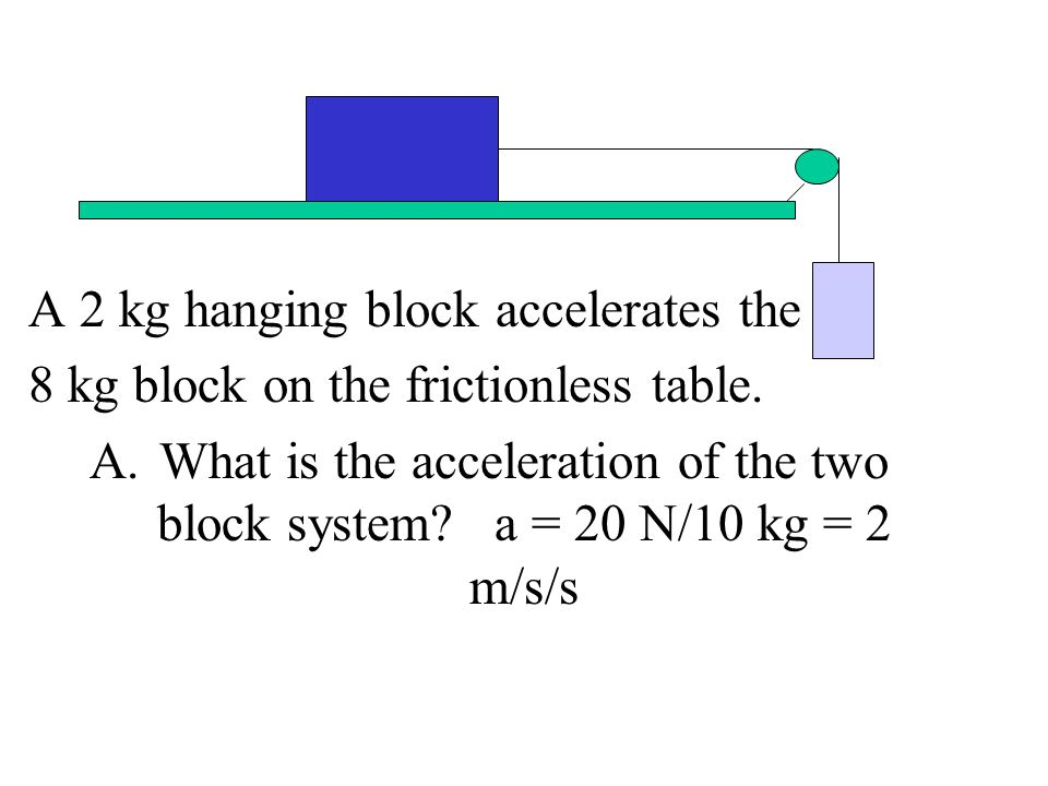 A 2 kg hanging block accelerates the 8 kg block on the frictionless table. A.What is the acceleration of the two block system? a = 20 N/10 kg = 2 m/s/