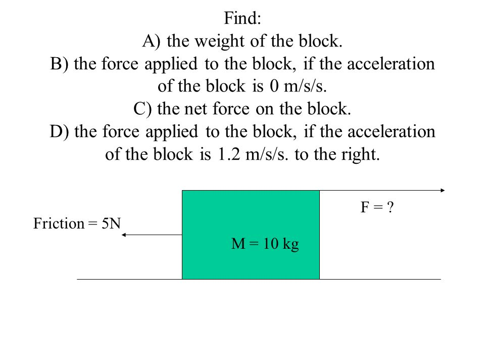 Find: A) the weight of the block. B) the force applied to the block, if the acceleration of the block is 0 m/s/s. C) the net force on the block. D) th