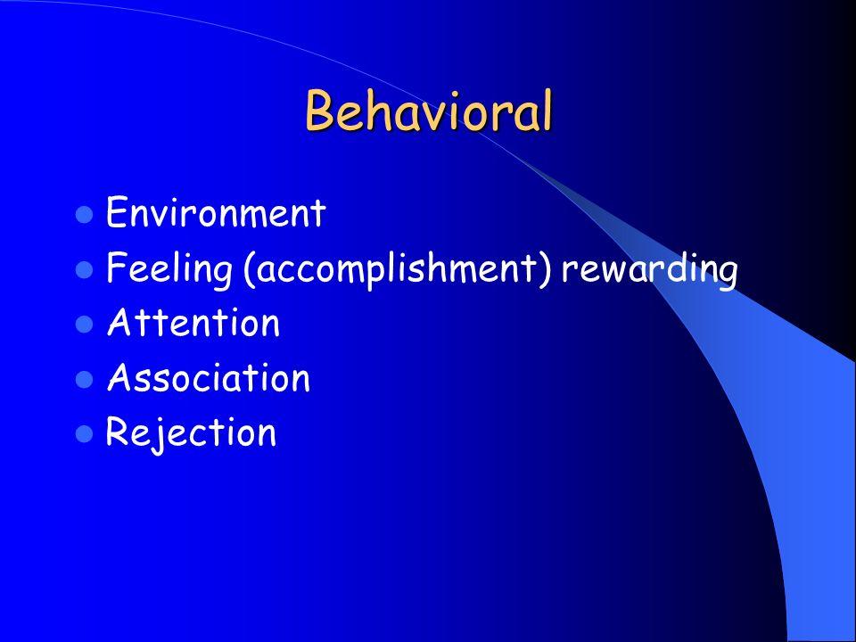 Behavioral Environment Feeling (accomplishment) rewarding Attention Association Rejection