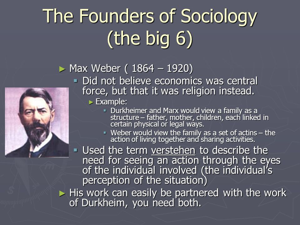 The Founders of Sociology (the big 6) Max Weber ( 1864 – 1920) Max Weber ( 1864 – 1920) Did not believe economics was central force, but that it was religion instead.