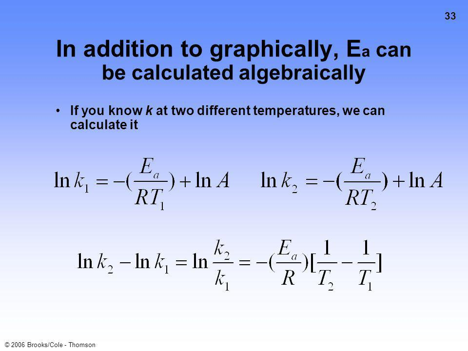 33 © 2006 Brooks/Cole - Thomson In addition to graphically, E a can be calculated algebraically If you know k at two different temperatures, we can calculate it