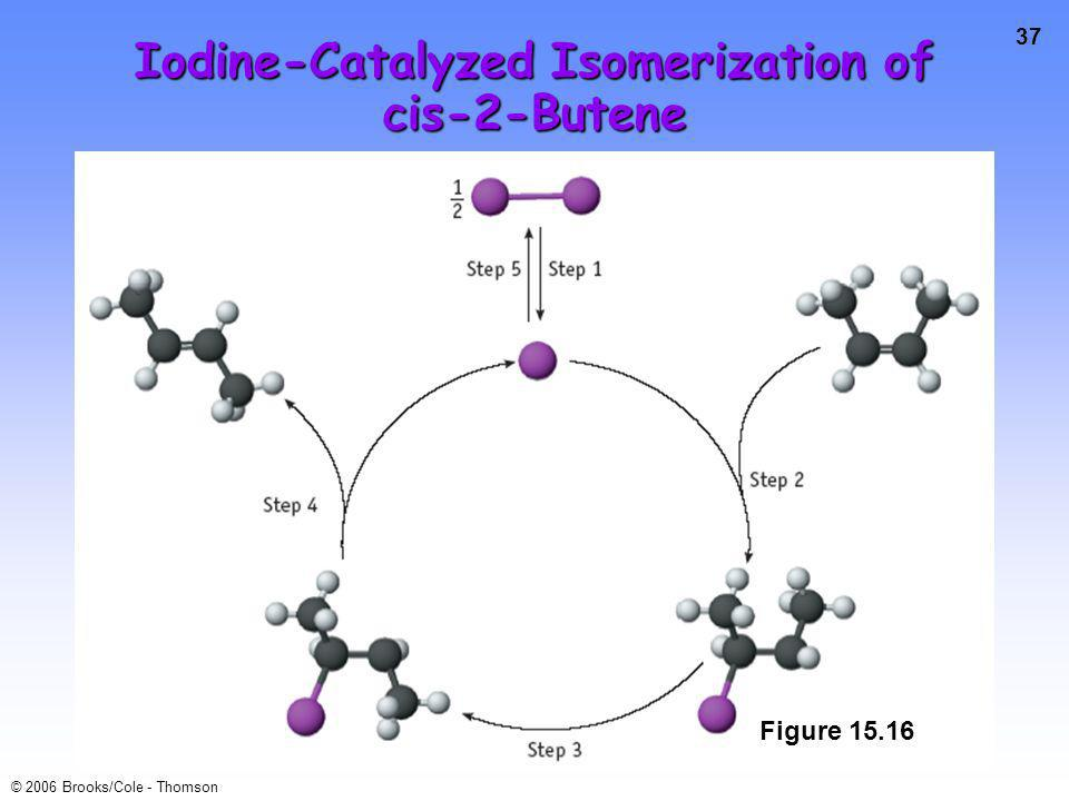 37 © 2006 Brooks/Cole - Thomson Iodine-Catalyzed Isomerization of cis-2-Butene Figure 15.16