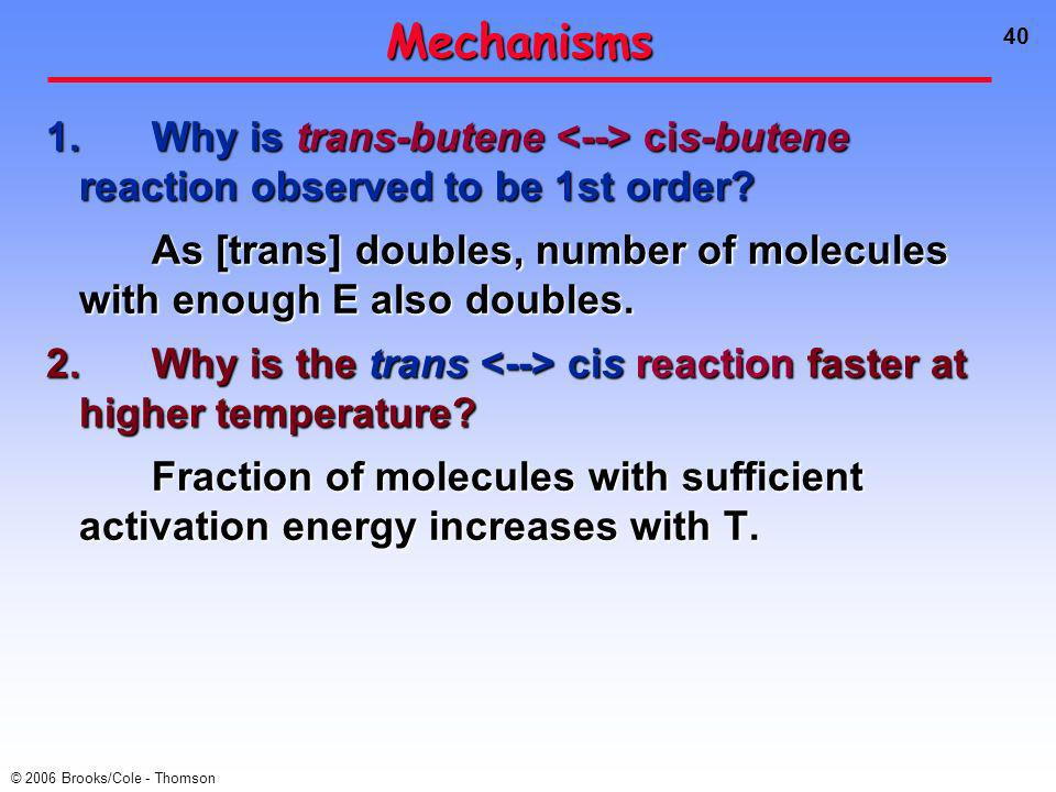 40 © 2006 Brooks/Cole - Thomson Mechanisms 1.Why is trans-butene cis-butene reaction observed to be 1st order.
