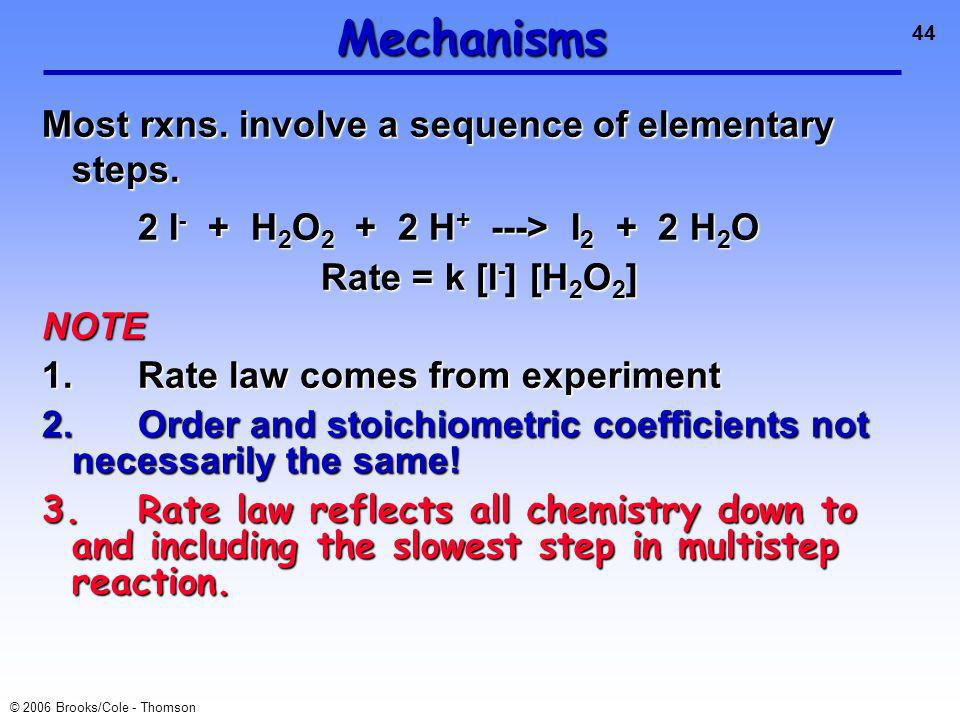 44 © 2006 Brooks/Cole - Thomson Mechanisms Most rxns.