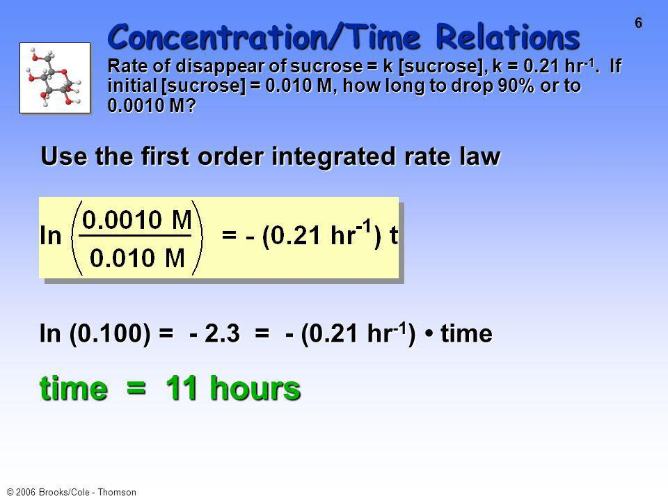 6 © 2006 Brooks/Cole - Thomson Concentration/Time Relations Rate of disappear of sucrose = k [sucrose], k = 0.21 hr -1.