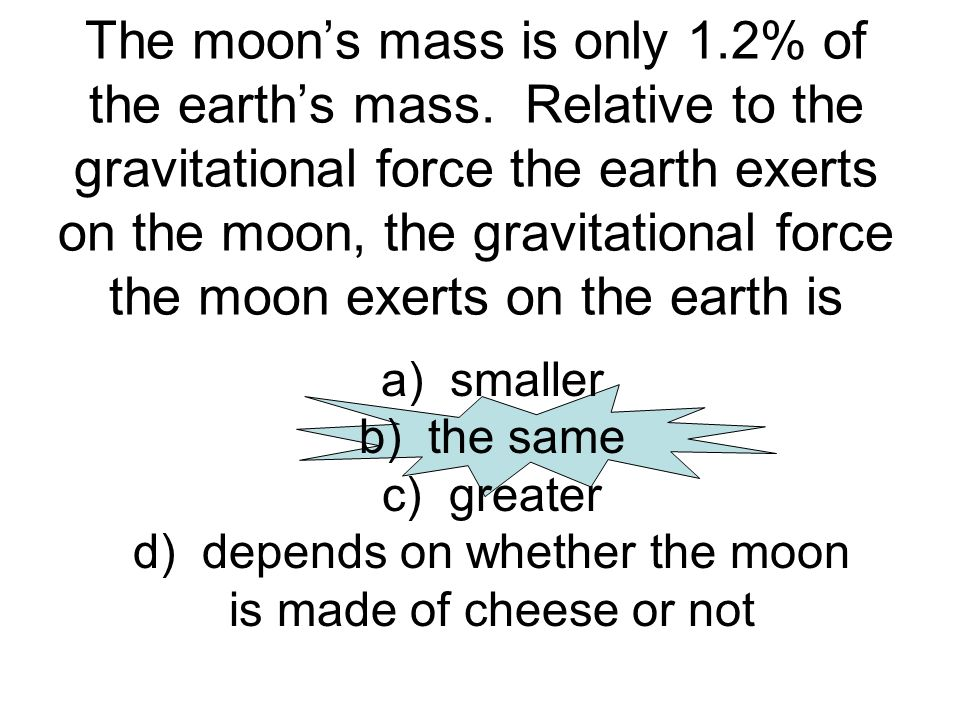 The moons mass is only 1.2% of the earths mass. Relative to the gravitational force the earth exerts on the moon, the gravitational force the moon exe