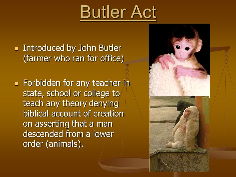Butler Act Introduced by John Butler (farmer who ran for office) Introduced by John Butler (farmer who ran for office) Forbidden for any teacher in state, school or college to teach any theory denying biblical account of creation on asserting that a man descended from a lower order (animals).