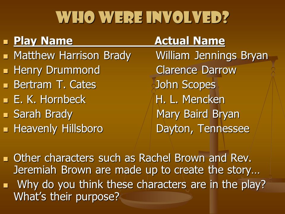 Who were involved? Play Name Actual Name Play Name Actual Name Matthew Harrison Brady William Jennings Bryan Matthew Harrison Brady William Jennings B
