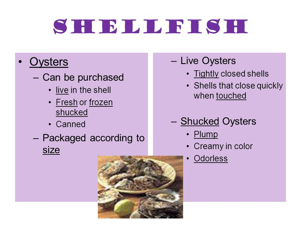 Shellfish Oysters –Can be purchased live in the shell Fresh or frozen shucked Canned –Packaged according to size –Live Oysters Tightly closed shells S