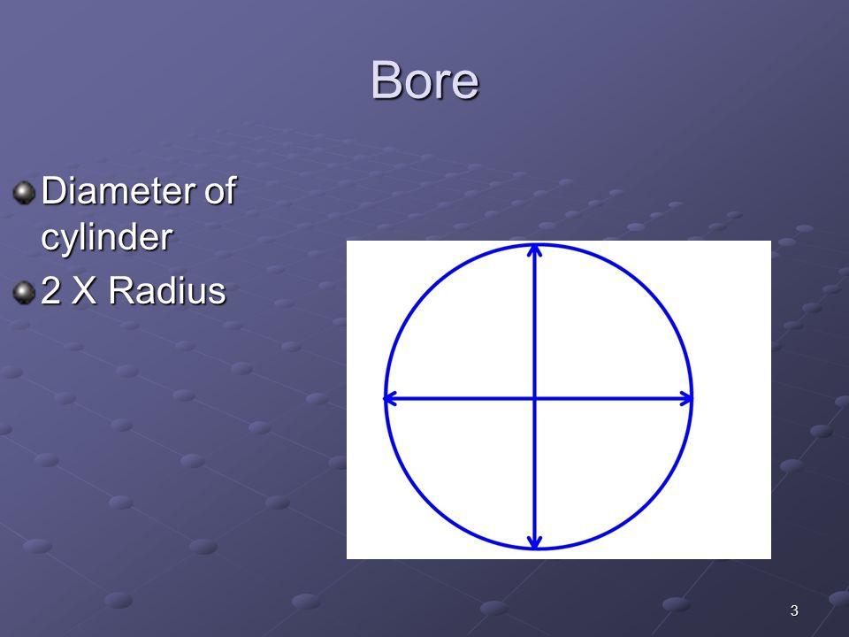 3 Bore Diameter of cylinder 2 X Radius