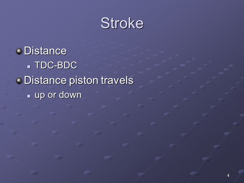 4 Stroke Distance TDC-BDC TDC-BDC Distance piston travels up or down up or down