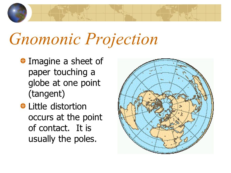 Imagine a sheet of paper touching a globe at one point (tangent) Little distortion occurs at the point of contact.