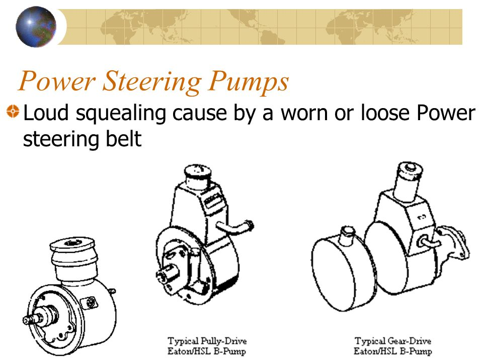 21 Power Steering Pumps Loud squealing cause by a worn or loose Power steering belt