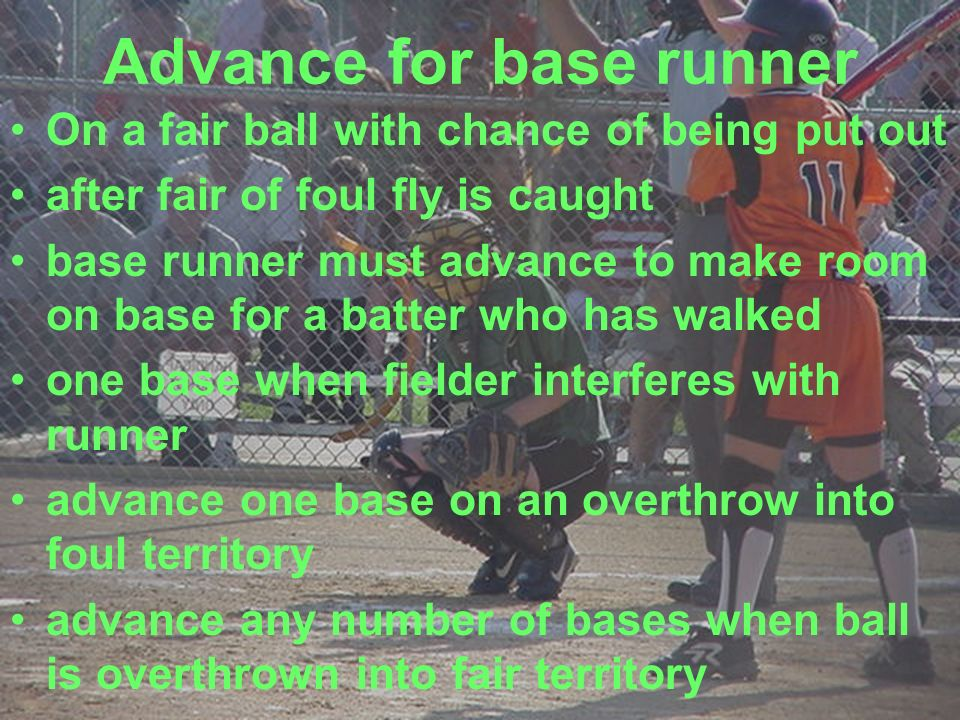 Advance for base runner On a fair ball with chance of being put out after fair of foul fly is caught base runner must advance to make room on base for