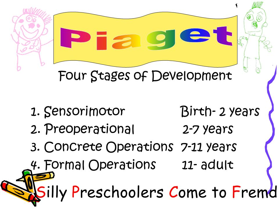 Four Stages of Development 1. Sensorimotor Birth- 2 years 2. Preoperational 2-7 years 3. Concrete Operations 7-11 years 4. Formal Operations 11- adult