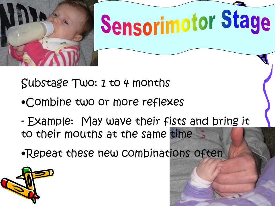 Substage Three: 4 to 8 months Begin to control their mental world by making connections between what they do and what happens - Example: touch mobile in crib and make it move Intentionally repeat enjoyable activities