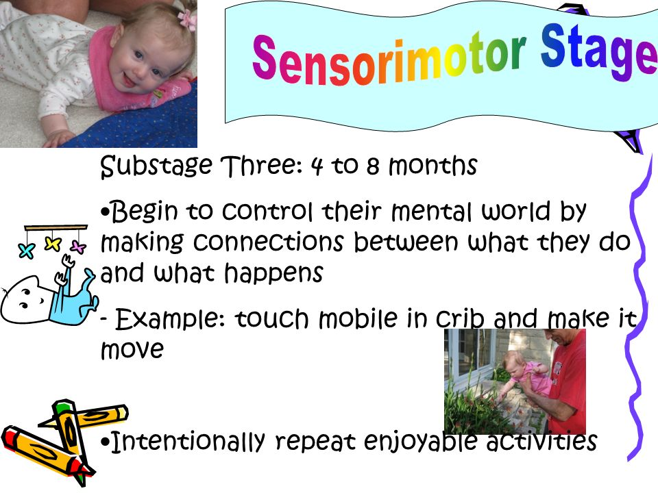 Substage Four: 8 to 12 months Piaget believed by age one, babies apply learnings to solve problems - Example: may squeeze, hit, or shake an object to see what it will do Start imitating others- important way to learn!