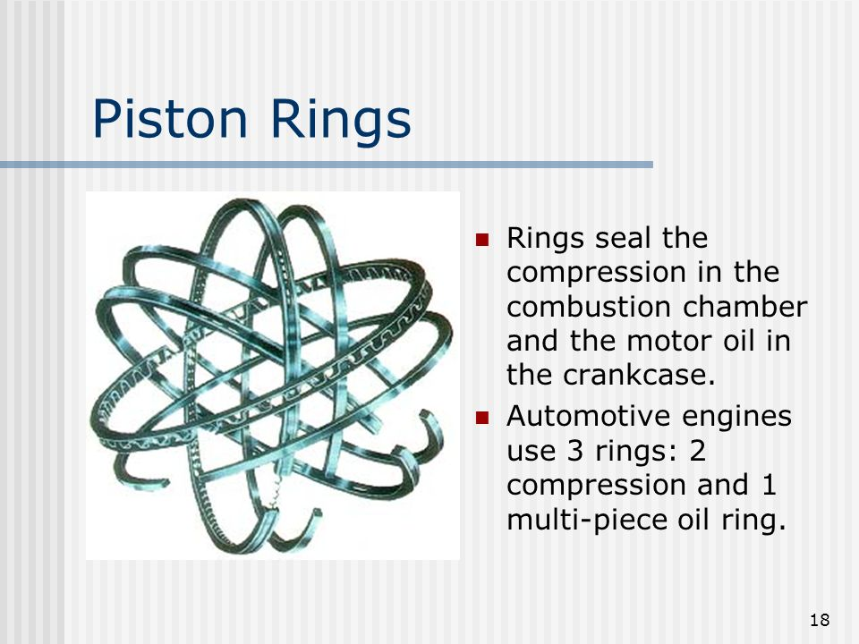 18 Piston Rings Rings seal the compression in the combustion chamber and the motor oil in the crankcase. Automotive engines use 3 rings: 2 compression