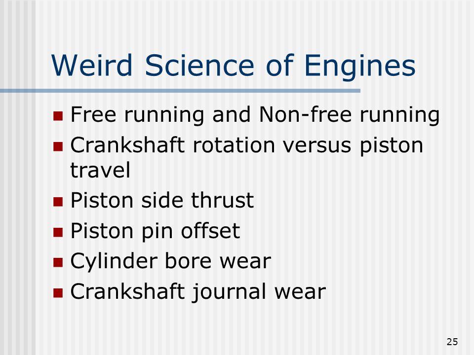 25 Weird Science of Engines Free running and Non-free running Crankshaft rotation versus piston travel Piston side thrust Piston pin offset Cylinder b