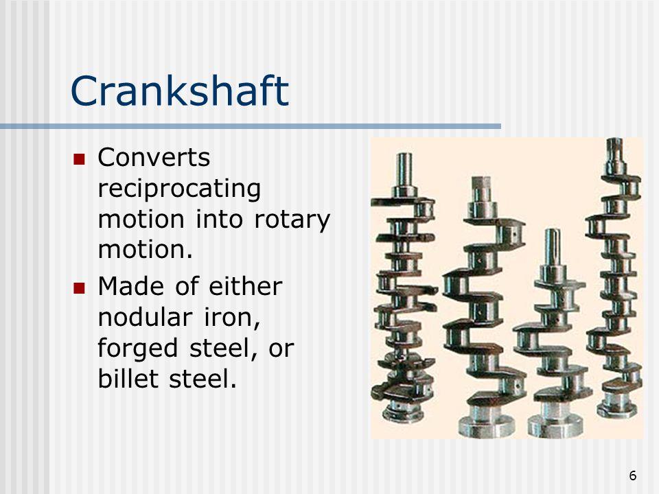 27 Piston Travel Verses Crankshaft Rotation When the piston move ½ way down the bore the crankshaft does not turn a ½ a turn.