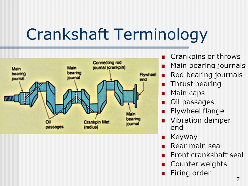 7 Crankshaft Terminology Crankpins or throws Main bearing journals Rod bearing journals Thrust bearing Main caps Oil passages Flywheel flange Vibratio