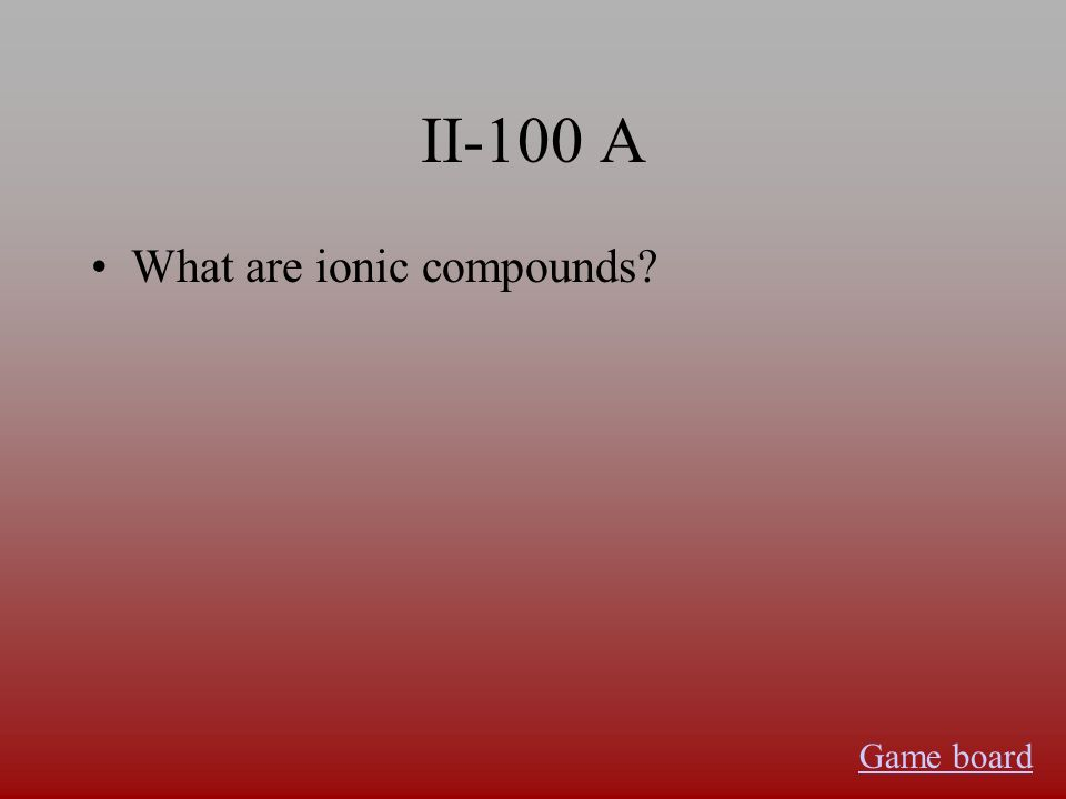 II-100 A What are ionic compounds Game board