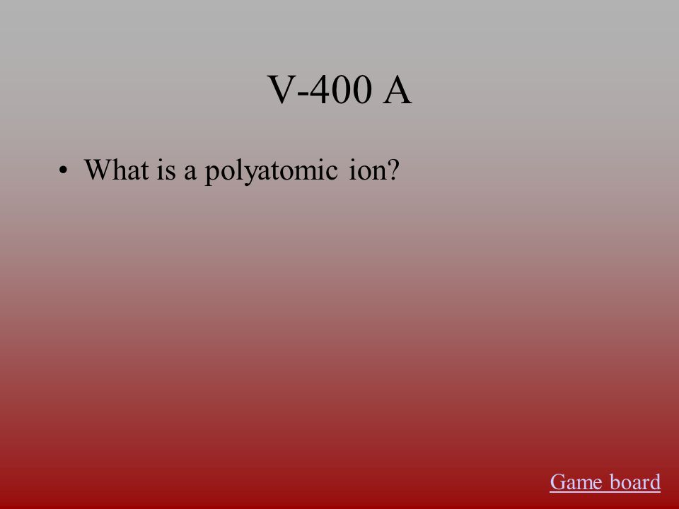 V-400 A What is a polyatomic ion Game board