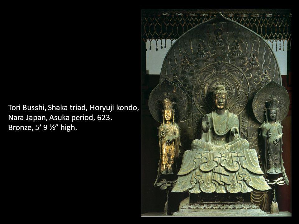 Tori Busshi, Shaka triad, Horyuji kondo, Nara Japan, Asuka period, 623. Bronze, 5 9 ½ high.