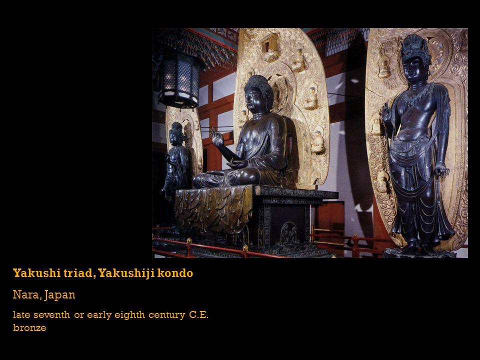 Yakushi triad, Yakushiji kondo Nara, Japan late seventh or early eighth century C.E. bronze