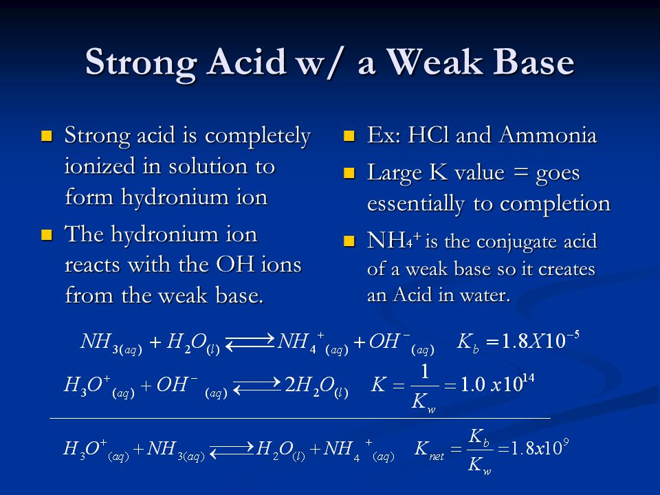 Strong Acid w/ a Weak Base Strong acid is completely ionized in solution to form hydronium ion Strong acid is completely ionized in solution to form h