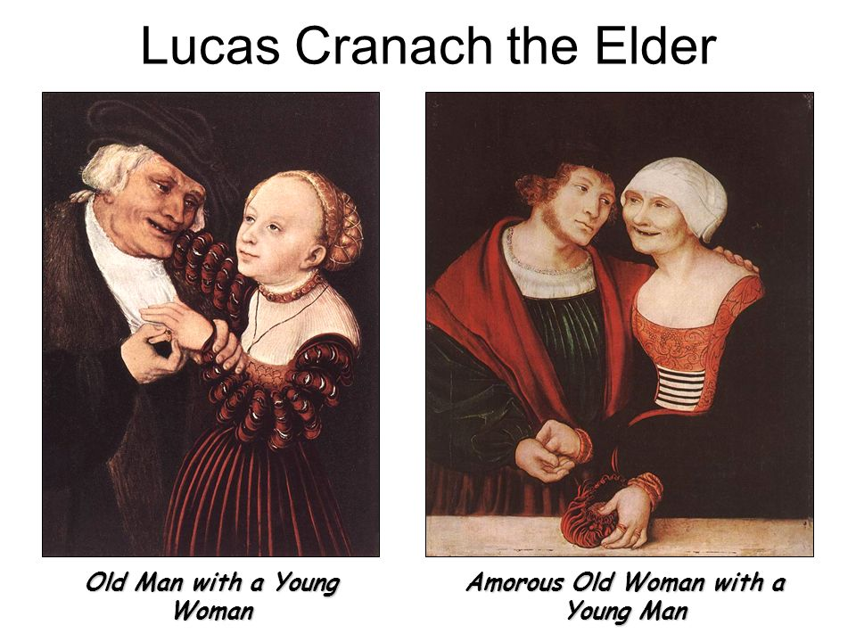 Lucas Cranach the Elder Old Man with a Young Woman Amorous Old Woman with a Young Man