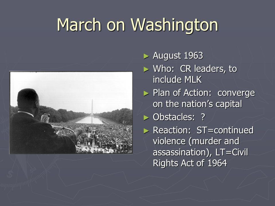University of Alabama June 1963 June 1963 Who: Gov. George Wallace Who: Gov. George Wallace Plan of Action: integrate the University of Alabama Plan o
